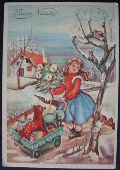 Immagini Natalizie Anni 50.Buon Natale Cartolina Anni Cinquanta Bn020
