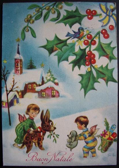 Eccezionale Buon Natale cartolina 1962 illustrata Galbi bn045 - Collezione OnLine KA99